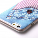 Jeans flower soft TPU case jeans iPhone 6 Plus hoesje