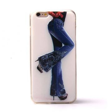 Jeans girl meisje soft TPU case jeans iPhone 6 Plus hoesje