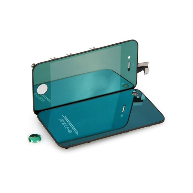 Complete Kit: Glass Digitizer & LCD Screen & Frame & Backcover First Quality iPhone 4 Mirror Green