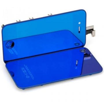 Touchscreen+Backcover set Blue Mirror iPhone 4