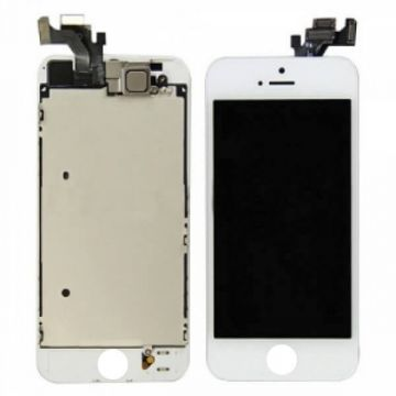 2nd Quality Glass digitizer complete assembled, LCD Retina Screen and Full Frame for iPhone 5 White