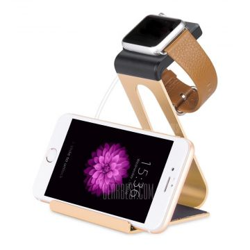 Station de charge en aluminium gold Hoco pour Apple Watch 38mm, 42mm et iPhone