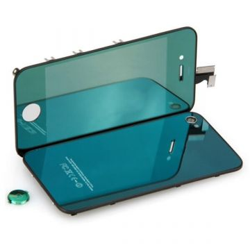 Complete Kit: Glass Digitizer & LCD Screen & Frame & Backcover First Quality iPhone 4S Mirror Green