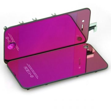 Complete Kit: TGlass Digitizer & LCD Screen & Frame & Backcover First Quality iPhone 4S Mirror Purple