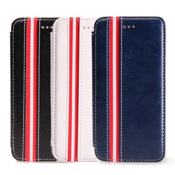 Etui portefeuille lignes simili cuir iPhone 6 Plus