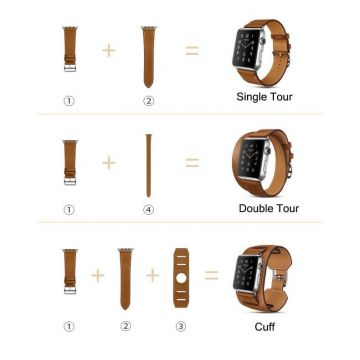 Bracelet cuir 3 en 1 Hoco Birkin Style pour Apple Watch 44mm & 42mm