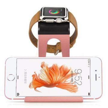 Roze goud aluminium docking station Apple Watch en iPhone