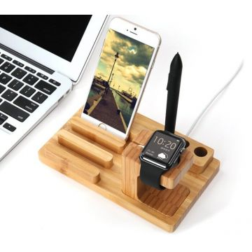Dock 4 en 1 bois Apple Watch, iPhone, iPad et bic