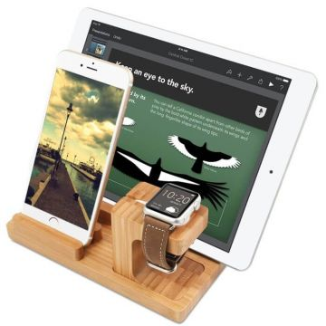 4 in 1 hout docking Apple Watch iPhone iPad