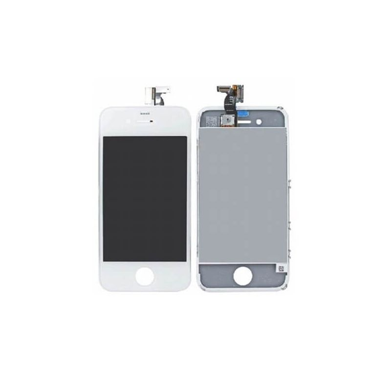 First Quality Glass Digitizer, LCD Screen and Full Frame for iPhone 4 White