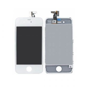 1st Quality Glass Digitizer, LCD Screen and Full Frame for iPhone 4S White