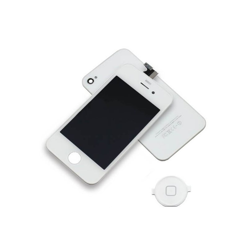 First Quality Complete Kit: Glass Digitizer, LCD Screen, Frame, Backcover and Button for iPhone 4 White