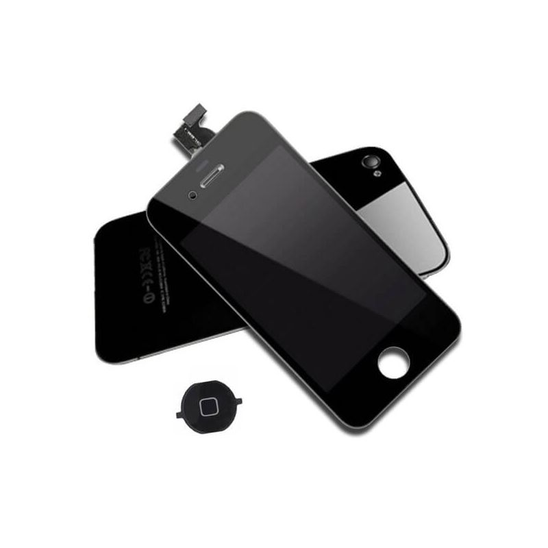 First Quality Complete Kit: Glass Digitizer, LCD Screen, Frame, Backcover and Button for iPhone 4S Black