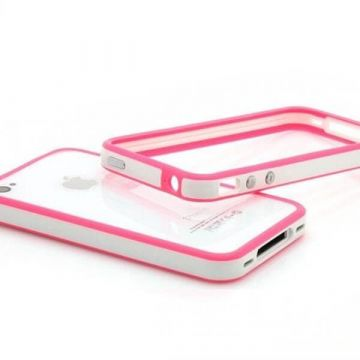 Bumper - Contour TPU Blanc & Rose IPhone 4 & 4S