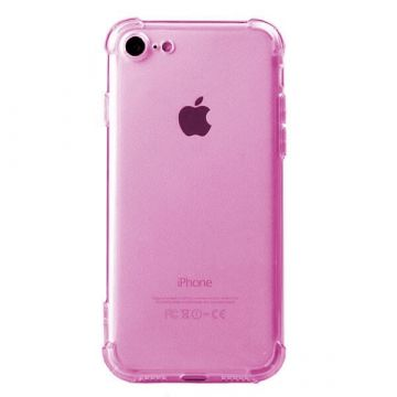 Coque antichoc transparente rose iPhone 7