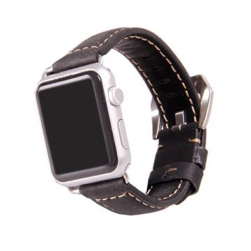Leather black Apple Watch 38mm bracelet with adapters