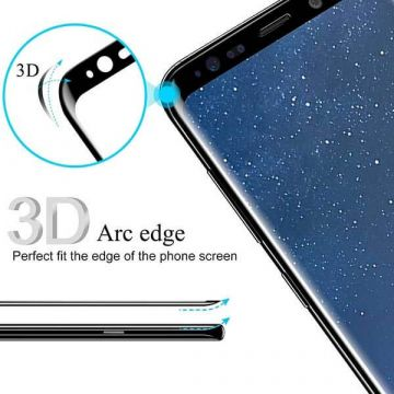 Screen Tempered Glass Protector 3D Zwart voor Samsung Galaxy S8