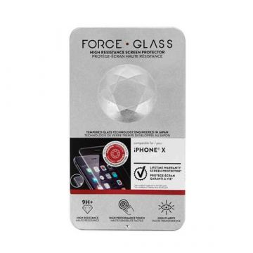 Protège-écran Force Glass Garanti à vie iPhone X + kit de pose