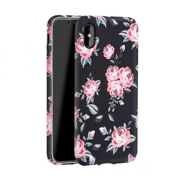 Black case with flower print iPhone X