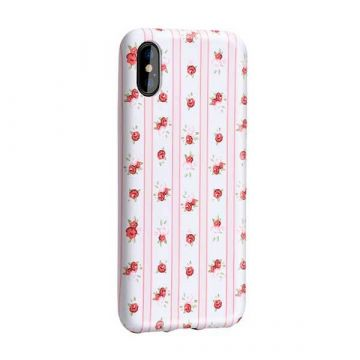 Pink / White Striped Case with flower print iPhone X