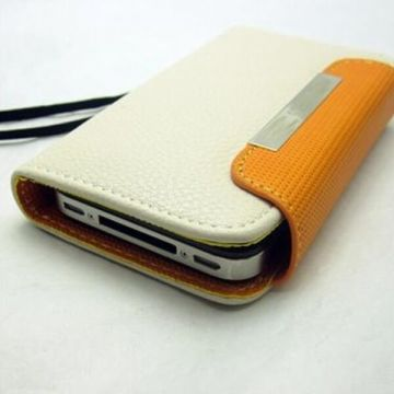 Case Cover PU Leather and Card Holder White and light orange for iPhone 5/5S/SE