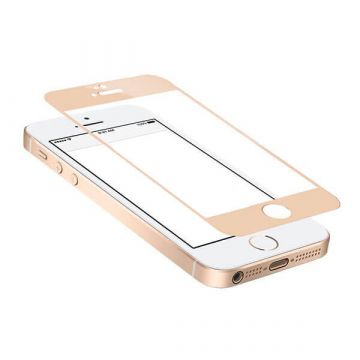 Tempered glass Screen Protector iPhone 5/5S/5C/SE Front clear metallic gold