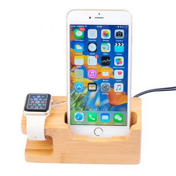 Holzladestation für Apple Watch 38 und 42mm und iPhone