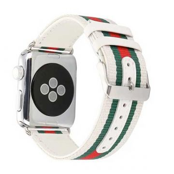 Bracelet Nylon Tressé + cuir Apple Watch 38mm