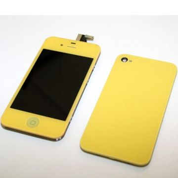 Complete Kit: Glass Digitizer & LCD Screen & Frame & Backcover First Quality iPhone 4 yellow