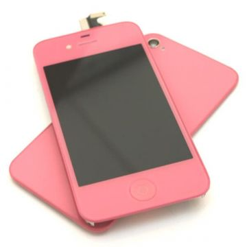 Complete Kit: Glass Digitizer & LCD Screen & Frame & Backcover First Quality iPhone 4S pink
