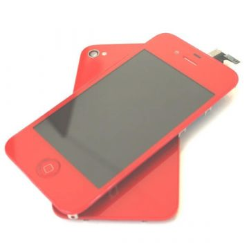 Complete Kit: Glass Digitizer & LCD Screen & Frame & Backcover First Quality iPhone 4S red
