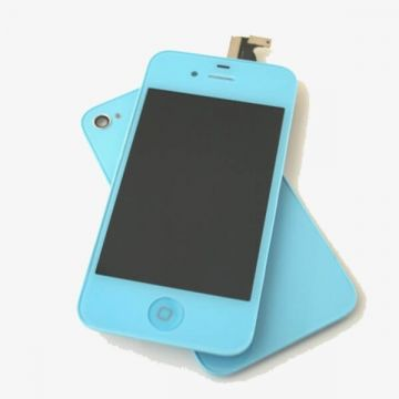 Complete Kit: Glass Digitizer & LCD Screen & Frame & Backcover First Quality iPhone 4S blue