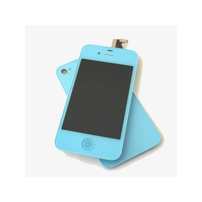 Complete Kit: Glass Digitizer & LCD Screen & Frame & Backcover First Quality iPhone 4 blue