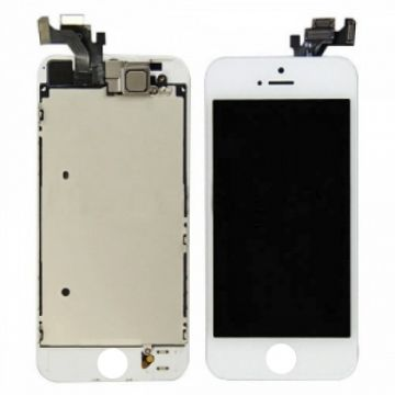 1st Quality Glass digitizer complete assembled, LCD Retina Screen and Full Frame for iPhone 5 White