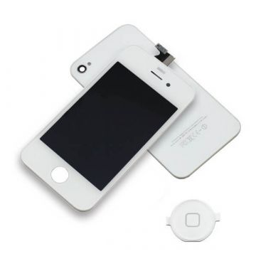 Original Quality Complete Kit: Glass Digitizer, LCD Screen, Frame, Backcover and Button for iPhone 4S White