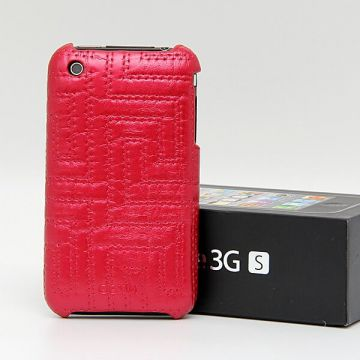 Coque housse simili cuir gaufré iPhone 3G 3GS Rouge