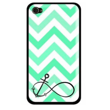 Coque iPhone 5/5S/SE Navy Turquoise Ancre et chevrons