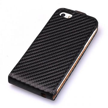 Flip Over Cover Case Carbon Look Black iPhone 5/5S/SE