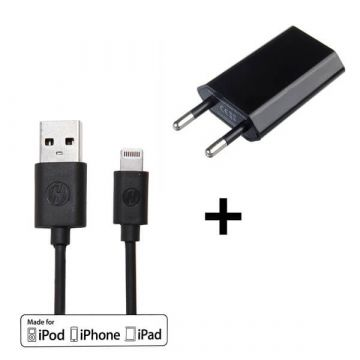 Pack 2 in 1 black MFI cable lightning + CE approved mains charger