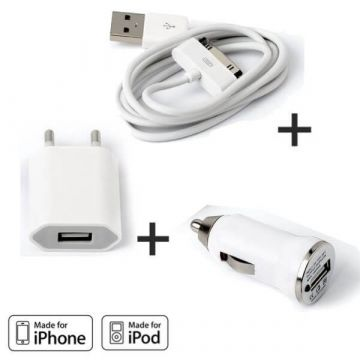 Pack Chargeur 3 en 1 IPhone 3G 3GS 4 4S
